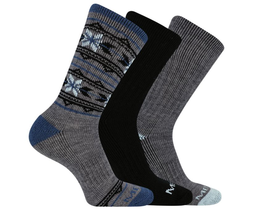 Thermal Crew Sock 3-Pack, Blue Heather, dynamic