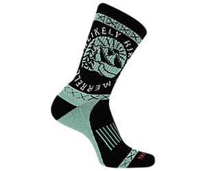Unlikely Hikers X Merrell Crew Sock, Black, dynamic