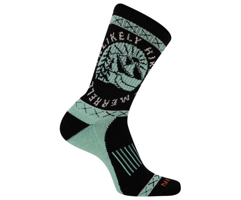Unlikely Hikers X Merrell Crew Sock, Black, dynamic