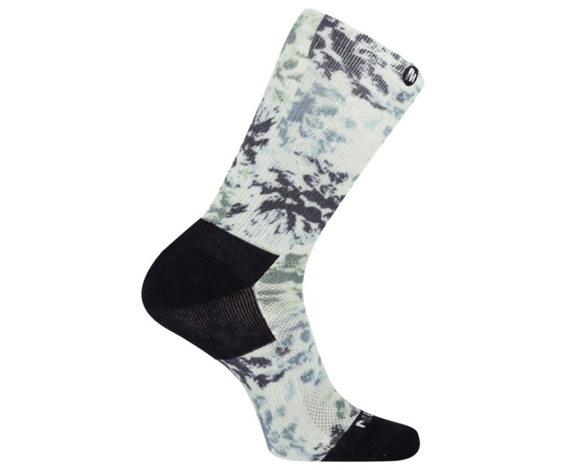 Floral Printed Performance Crew Sock, Gray, dynamic