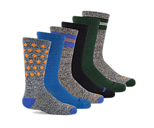 Hybrid Hiker Crew Sock 6-Pack, Blue, dynamic