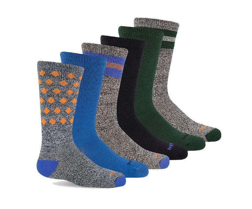 Hybrid Hiker Crew Sock 6-Pack, Blue, dynamic