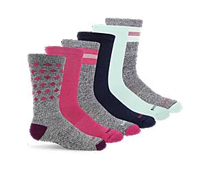 Hybrid Hiker Crew Sock 6-Pack, Red Asst, dynamic