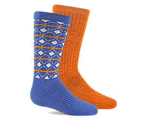 Holiday Brushed Crew Sock 2-pack, Blue Asst, dynamic