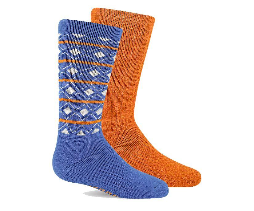 Brushed Crew Sock 2-pack, Blue Asst, dynamic