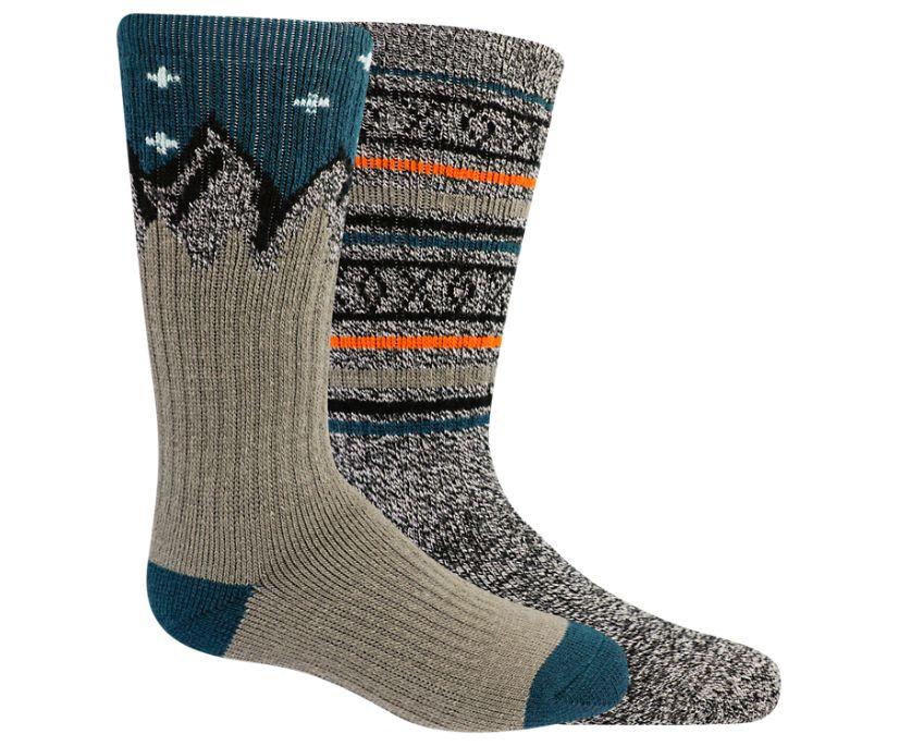 Brushed Crew Sock 2-pack, Olive, dynamic