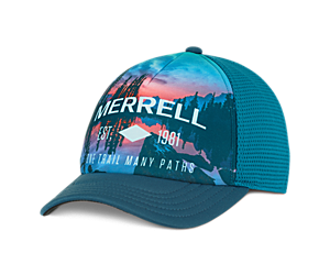 Lake Sunset Trucker Hat, Polar, dynamic