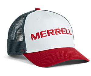 Trailhead Embroidery Woodmark Trucker Hat, Chalk/Chili, dynamic