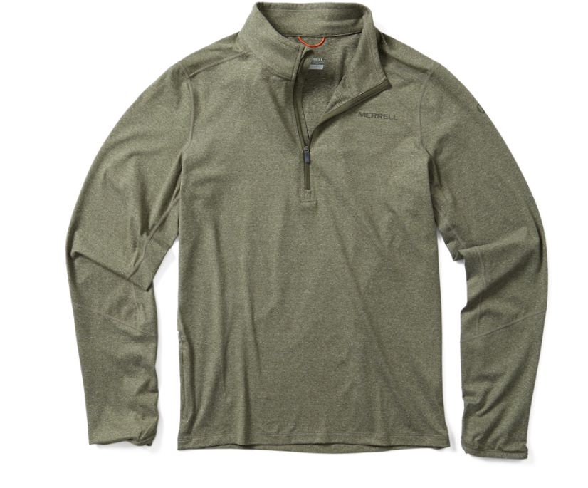 BetaTherm 1/4 Zip Mid-Layer Fleece, Dusty Olive, dynamic