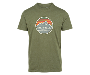 Striped Range Short Sleeve Tee, Olive Heather, dynamic