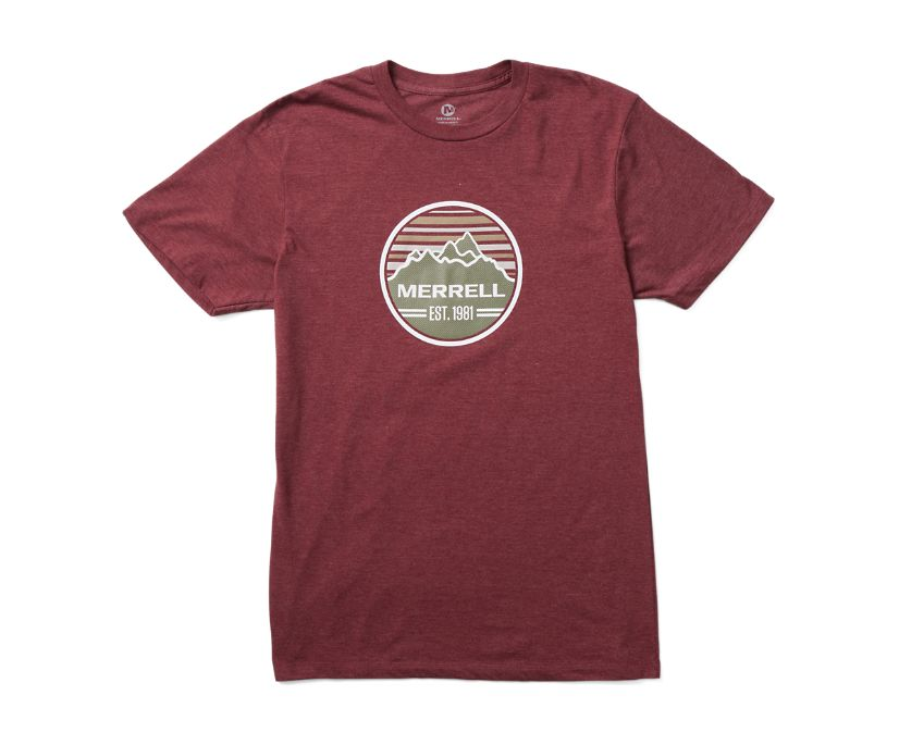 Striped Range Short Sleeve Tee, Burgundy Heather, dynamic