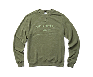 Merrell Est 1981 Wordmark Crewneck Pullover, Lichen Heather, dynamic