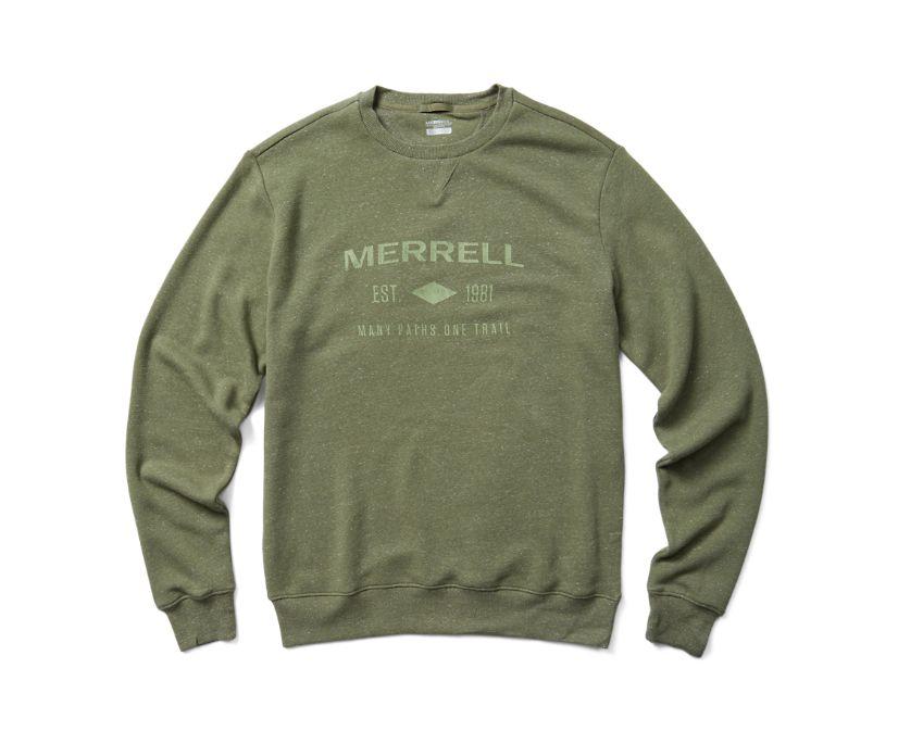 Merrell Est 1981 Wordmark Crewneck Pullover, Lichen Heather, dynamic