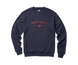 Merrell Est 1981 Wordmark Crewneck Pullover, Navy Heather, dynamic