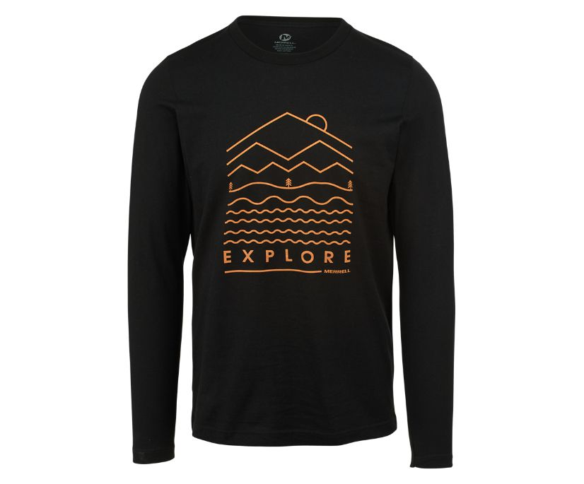 Explore Long Sleeve Crew Tee, Black, dynamic