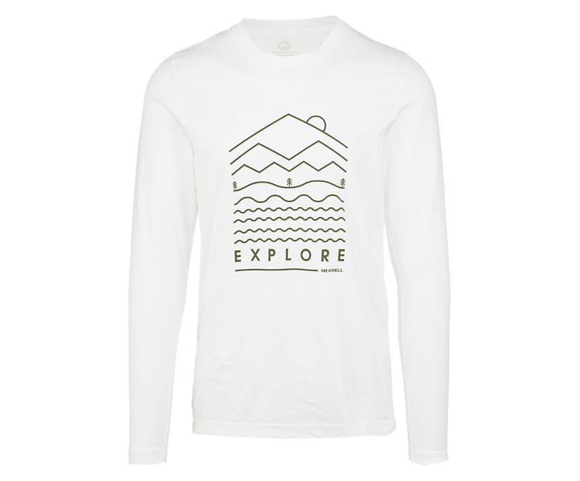 Explore Long Sleeve Crew Tee, White, dynamic