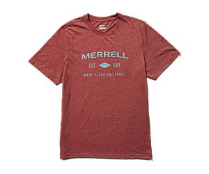 Merrell Est 1981 Wordmark Short Sleeve Tee, Brick Heather, dynamic