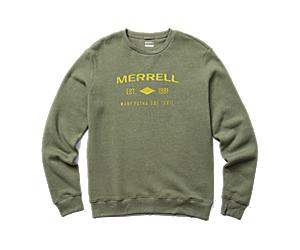 Merrell Est 1981 Wordmark Crewneck Pullover, Lichen, dynamic
