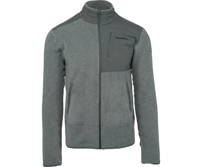 Flux Mid-Weight Hybrid Full-Zip Polar Fleece, Asphalt, dynamic