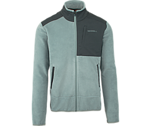 Flux Mid-Weight Hybrid Full-Zip Polar Fleece, Monument/Asphalt, dynamic