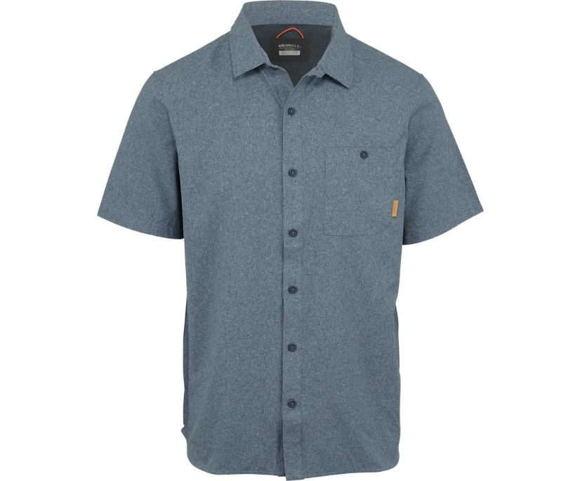 Entrada III Short Sleeve Button Down, Navy Heather, dynamic