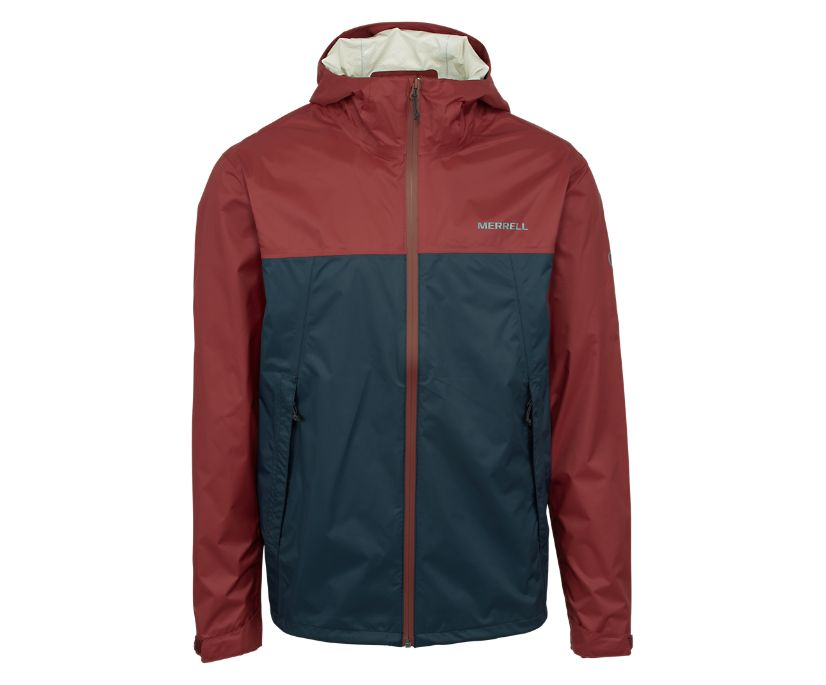 Fallon Rain Jacket, Brick/Navy, dynamic