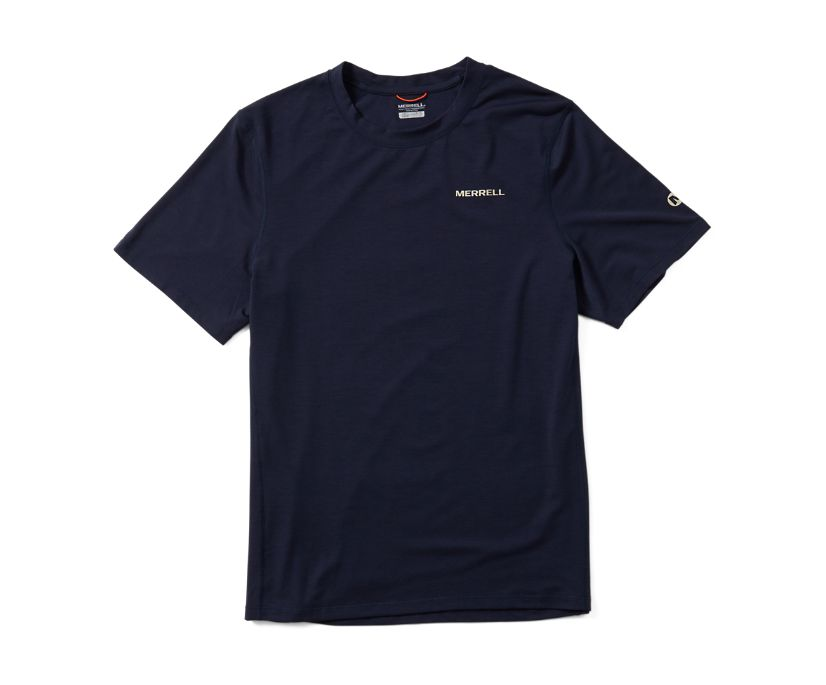 Tencel Short Sleeve Tee, Navy, dynamic