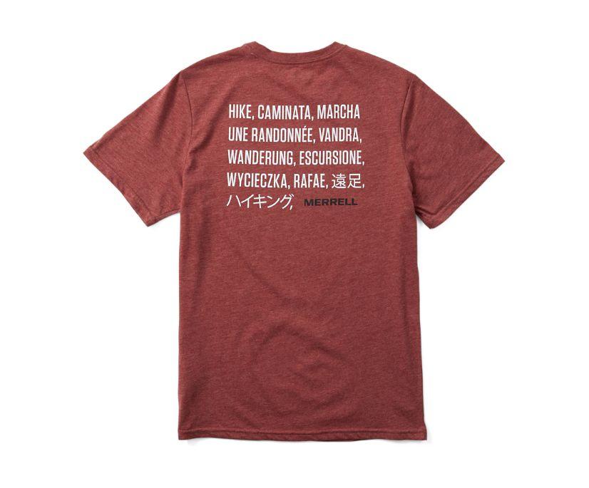 Hike Translate Short Sleeve Tee, Burgundy Heather, dynamic