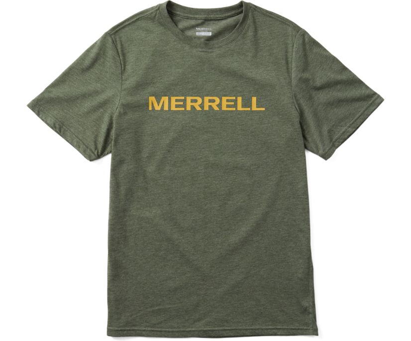 Wordmark Short Sleeve Tee, Laurel Heather, dynamic