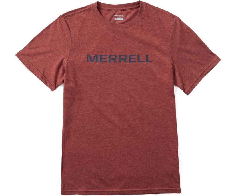 Wordmark Short Sleeve Tee, Burgundy Heather, dynamic
