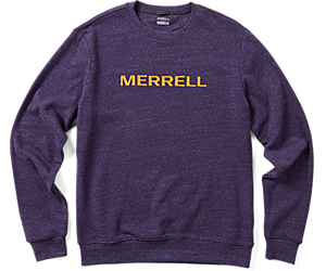 Wordmark Crew Neck Long Sleeve Tee, Malbec Heather, dynamic
