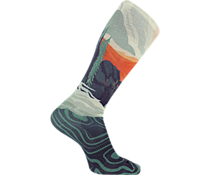 Printed White Mountain Sock, White, dynamic