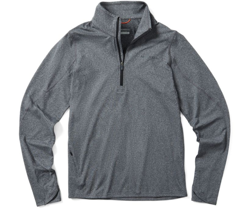 BetaTherm 1/4 Zip Mid-Layer Fleece, Black Heather, dynamic