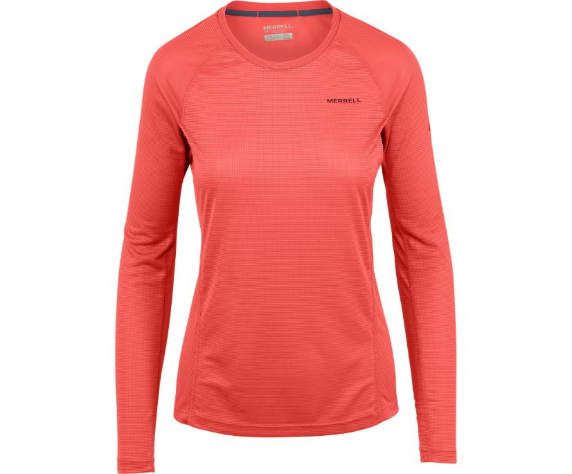 Entrada II Long Sleeve Tech Tee, Hot Coral, dynamic