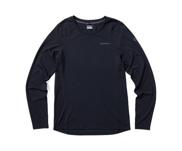 Tencel® Long Sleeve Tee with drirelease® Fabric, Black, dynamic