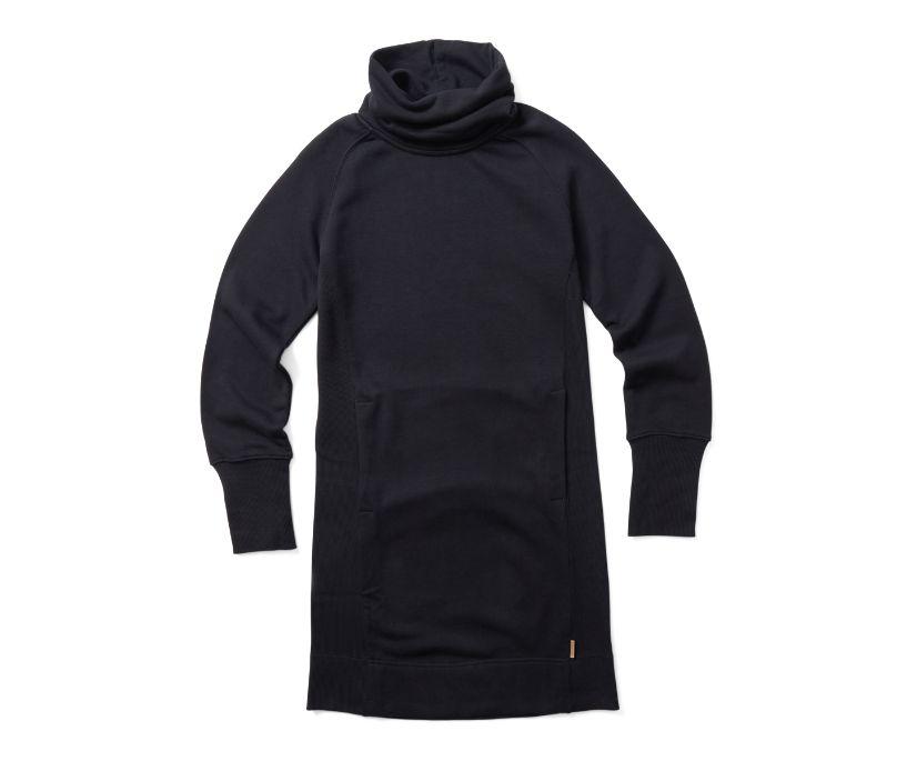 French Terry Long Sleeve Dress, Black, dynamic