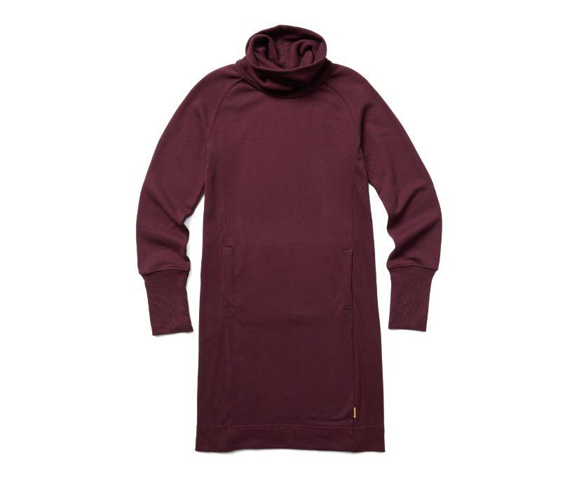 French Terry Long Sleeve Dress, Burgundy, dynamic