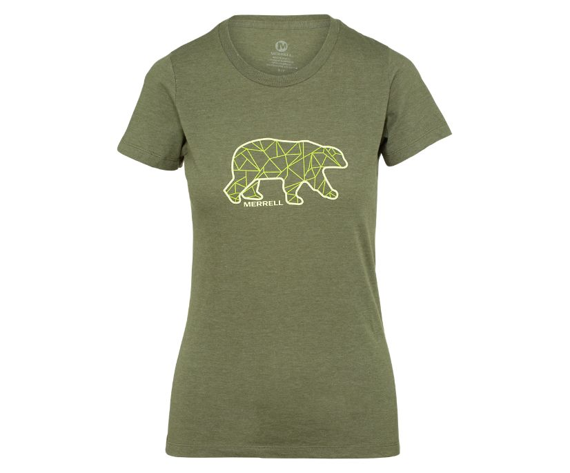 Geo Bear Short Sleeve Tee, Olive Heather, dynamic
