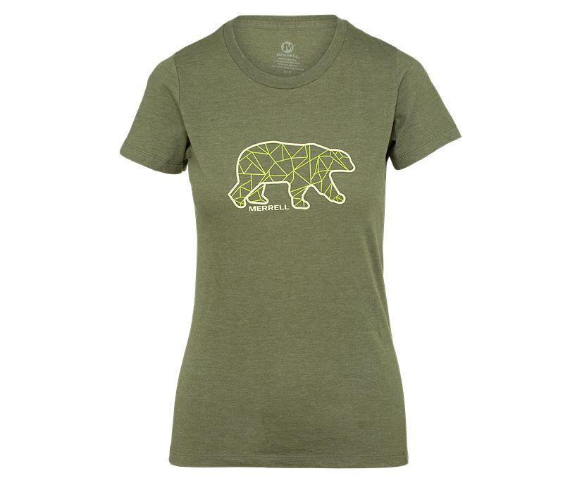 Geo Bear Short Sleeve Tee, Olive Heather, dynamic