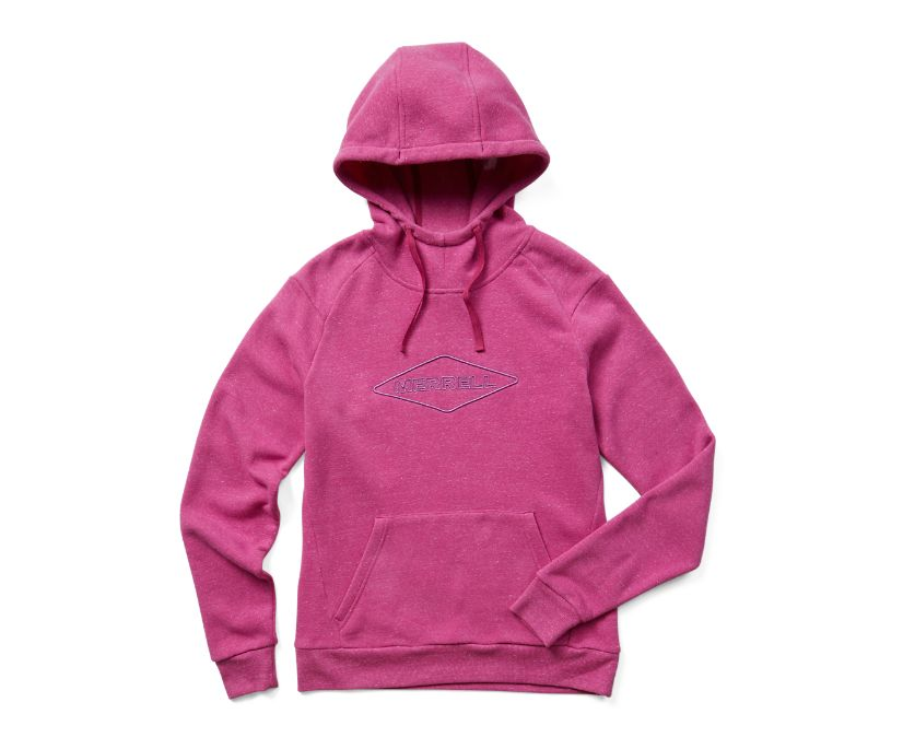 Diamond Wordmark Pullover Hoody, Fuchsia Heather, dynamic