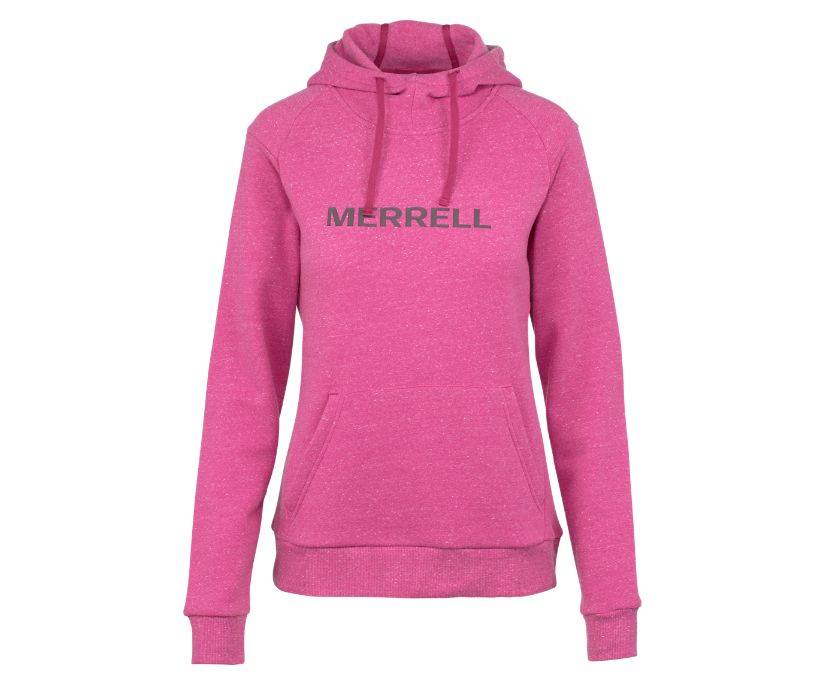 Classic Wordmark Pullover Hoody, Fuchsia Heather, dynamic