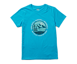 Unlikely Hikers X Merrell Short Sleeve Tee, Blue Jewel Heather, dynamic
