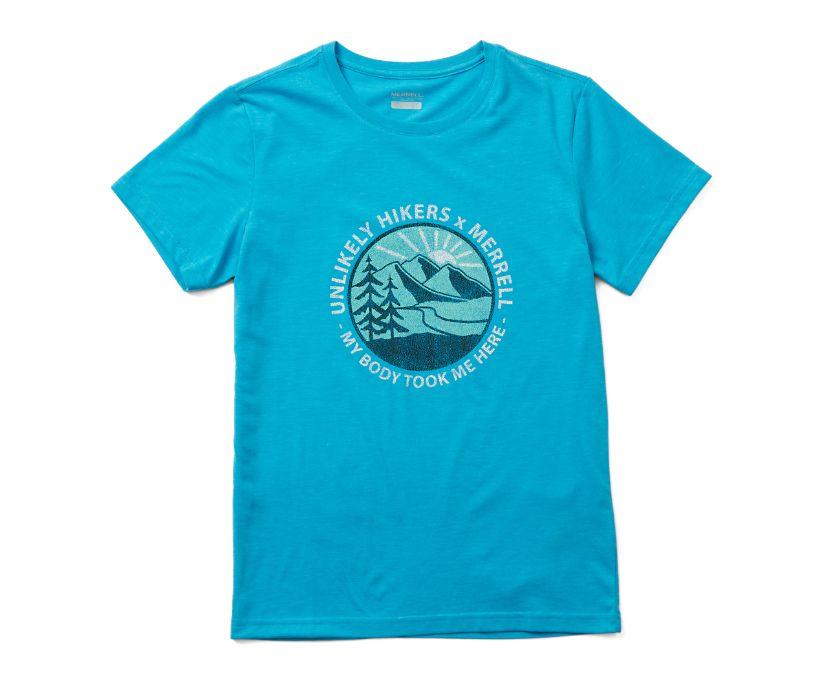 Unlikely Hikers X Merrell Short Sleeve Tee, Blue Jewel Heather, dynamic