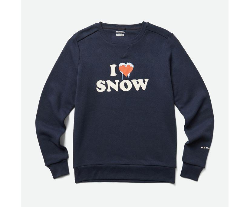 Heart Snow Fleece Crew, Navy, dynamic