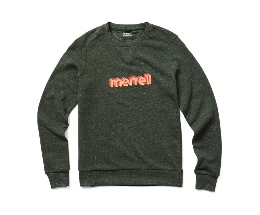 Retro Repeat Crewneck Sweatshirt, Forest Heather, dynamic