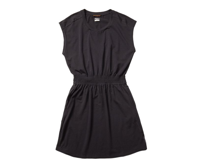 Short Sleeve Knit Dress, Black, dynamic