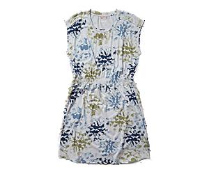 Short Sleeve Knit Dress, Blue Floral Print, dynamic