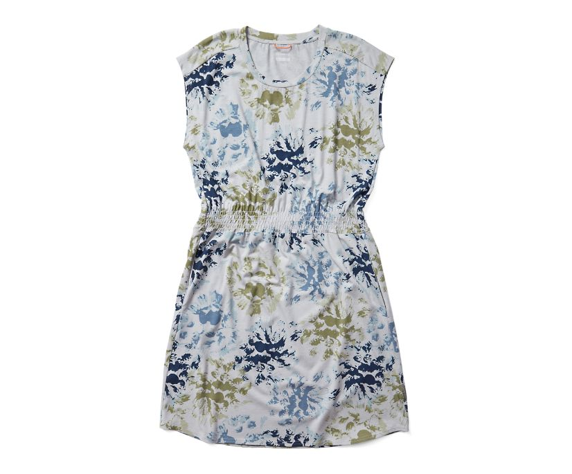 Short Sleeve Knit Dress, Blue Floral Print, dynamic