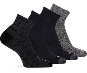 Holiday 4 Pack Quarter Sock, Multi Black, dynamic