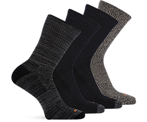 4 Pack Crew Sock, Multi Black, dynamic